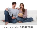 couple on sofa with popcorn | Shutterstock . vector #130379234