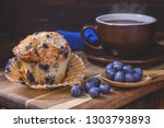 blueberry muffin and berries... | Shutterstock . vector #1303793893