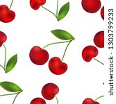seamless pattern. red cherries...   Shutterstock .eps vector #1303799233