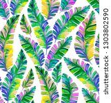 palm leaves pattern. iridescent ... | Shutterstock . vector #1303802590
