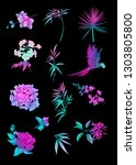 set of tropical plans  flowers... | Shutterstock .eps vector #1303805800