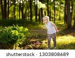 cute little boy catches... | Shutterstock . vector #1303808689