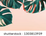 summer tropical background with ... | Shutterstock . vector #1303813939