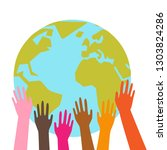 colorful hands holding planet... | Shutterstock .eps vector #1303824286