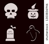 scary icon set with pumpkin...   Shutterstock .eps vector #1303836946