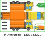 cut and glue the paper a truck... | Shutterstock .eps vector #1303853320
