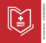 swiss quality shield.label... | Shutterstock .eps vector #1303858003