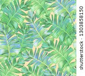 classic banana leaf wallpaper.... | Shutterstock . vector #1303858150