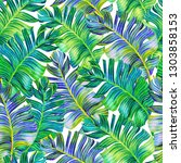 happy tropical leaf pattern.... | Shutterstock . vector #1303858153