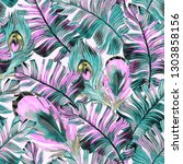 tropical pattern with peacock... | Shutterstock . vector #1303858156