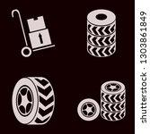 tyre icon set with handcart ... | Shutterstock .eps vector #1303861849