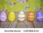 Beautiful easter eggs with great background - stock photo