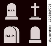 tombstone icon set with grave... | Shutterstock .eps vector #1303869706