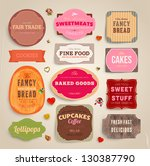 set of retro bakery and coffee... | Shutterstock .eps vector #130387790