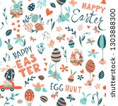 funny happy easter seamless... | Shutterstock .eps vector #1303888300
