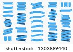 set of 30 blue ribbons banners. ... | Shutterstock .eps vector #1303889440