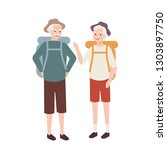 elderly couple with backpacks.... | Shutterstock .eps vector #1303897750