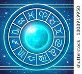 zodiac wheel with zodiac signs... | Shutterstock .eps vector #1303919950