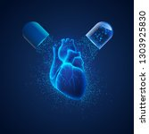 concept of heart medication ... | Shutterstock .eps vector #1303925830