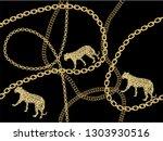 gold fashion chain print... | Shutterstock .eps vector #1303930516