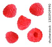 raspberry with leaves isolated... | Shutterstock . vector #1303939990
