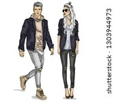 woman and man fashion models  ... | Shutterstock . vector #1303944973