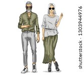 woman and man fashion models  ... | Shutterstock . vector #1303944976