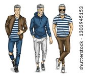 man models dressed in casual... | Shutterstock . vector #1303945153