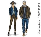 woman and man models dressed... | Shutterstock . vector #1303945159