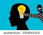 thief stolen light bulb of idea.... | Shutterstock .eps vector #1303951423