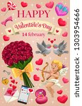 love hearts and romantic gifts... | Shutterstock .eps vector #1303954666
