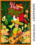 mexican fiesta party mariachi... | Shutterstock .eps vector #1303954690