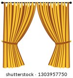 yellow luxury curtains and... | Shutterstock .eps vector #1303957750