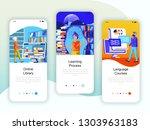 set of onboarding screens user... | Shutterstock .eps vector #1303963183