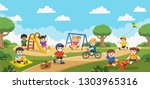 happy excited kids having fun... | Shutterstock .eps vector #1303965316