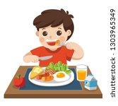 a little boy happy to eat... | Shutterstock .eps vector #1303965349