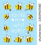 cute honey bees frame for your... | Shutterstock .eps vector #1303965580