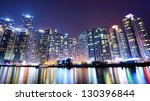 BUSAN, SOUTH KOREA - FEBRUARY 10: Residential high rises in Haeundae District February 10, 2013 in Busan, KR. The district is known for the affluent high-rises apartments which line the shore. - stock photo