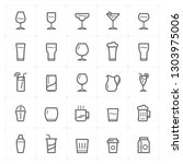 icon set   glass and beverage... | Shutterstock .eps vector #1303975006