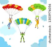 bright happy skydivers in the... | Shutterstock .eps vector #1303976056