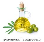 branch with olives and bottle... | Shutterstock . vector #1303979410