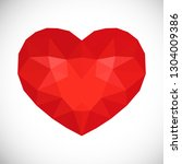 red low poly heart on white...   Shutterstock .eps vector #1304009386