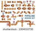 set for pipeline design. pipes... | Shutterstock .eps vector #1304010730