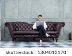 asian women work with gray... | Shutterstock . vector #1304012170