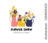 spring colorful flower bouquets ... | Shutterstock .eps vector #1304035423