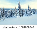 snow covered trees and a view...   Shutterstock . vector #1304038240