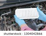 car engine air filter   Shutterstock . vector #1304042866
