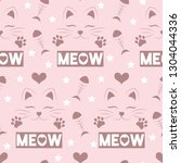 meow  cute pattern with hearts  ...   Shutterstock .eps vector #1304044336