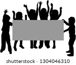 children holding a poster or a... | Shutterstock .eps vector #1304046310