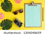 flat lay of clipboard with... | Shutterstock . vector #1304048659